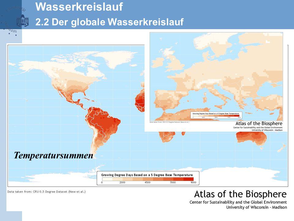 Wasserkreislauf 2.2 Der globale Wasserkreislauf Temperatursummen