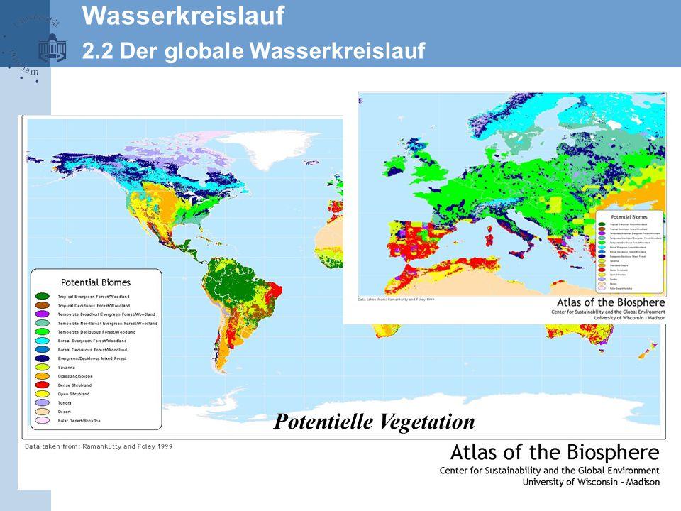 25 Wasserkreislauf 2.2 Der globale Wasserkreislauf Potentielle Vegetation