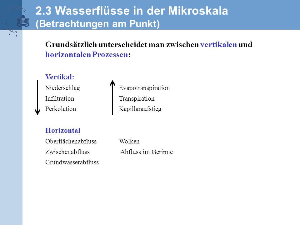 2.3 Wasserflüsse in der Mikroskala (Betrachtungen am Punkt) Grundsätzlich unterscheidet man zwischen vertikalen und horizontalen Prozessen: Vertikal: