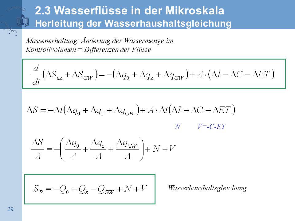 29 Massenerhaltung: Änderung der Wassermenge im Kontrollvolumen = Differenzen der Flüsse Wasserhaushaltsgleichung NV=-C-ET 2.3 Wasserflüsse in der Mikroskala Herleitung der Wasserhaushaltsgleichung