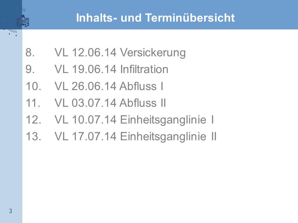 3 Inhalts- und Terminübersicht 8. VL 12.06.14 Versickerung 9. VL 19.06.14 Infiltration 10. VL 26.06.14 Abfluss I 11. VL 03.07.14 Abfluss II 12. VL 10.