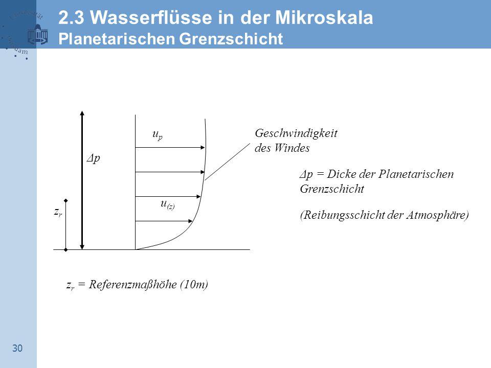 30 Geschwindigkeit des Windes upup u (z) ΔpΔp Δp = Dicke der Planetarischen Grenzschicht (Reibungsschicht der Atmosphäre) zrzr z r = Referenzmaßhöhe (10m) 2.3 Wasserflüsse in der Mikroskala Planetarischen Grenzschicht