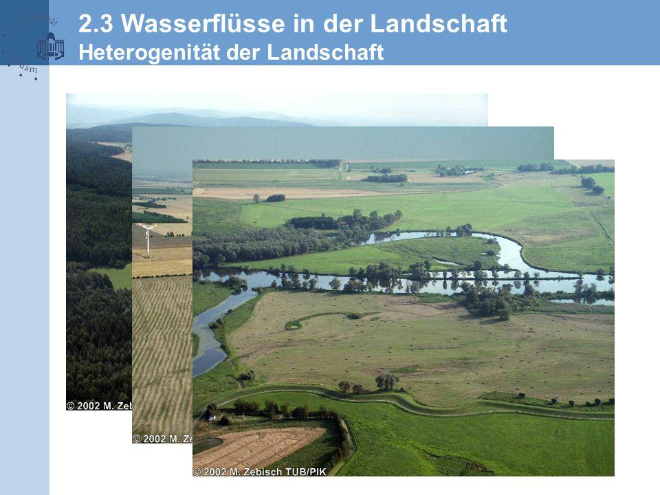 2.3 Wasserflüsse in der Landschaft Heterogenität der Landschaft