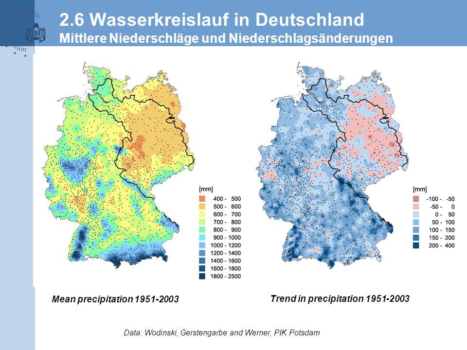 Acrobat-Dokument Data: Wodinski, Gerstengarbe and Werner, PIK Potsdam Mean precipitation 1951-2003 Trend in precipitation 1951-2003 2.6 Wasserkreislauf in Deutschland Mittlere Niederschläge und Niederschlagsänderungen