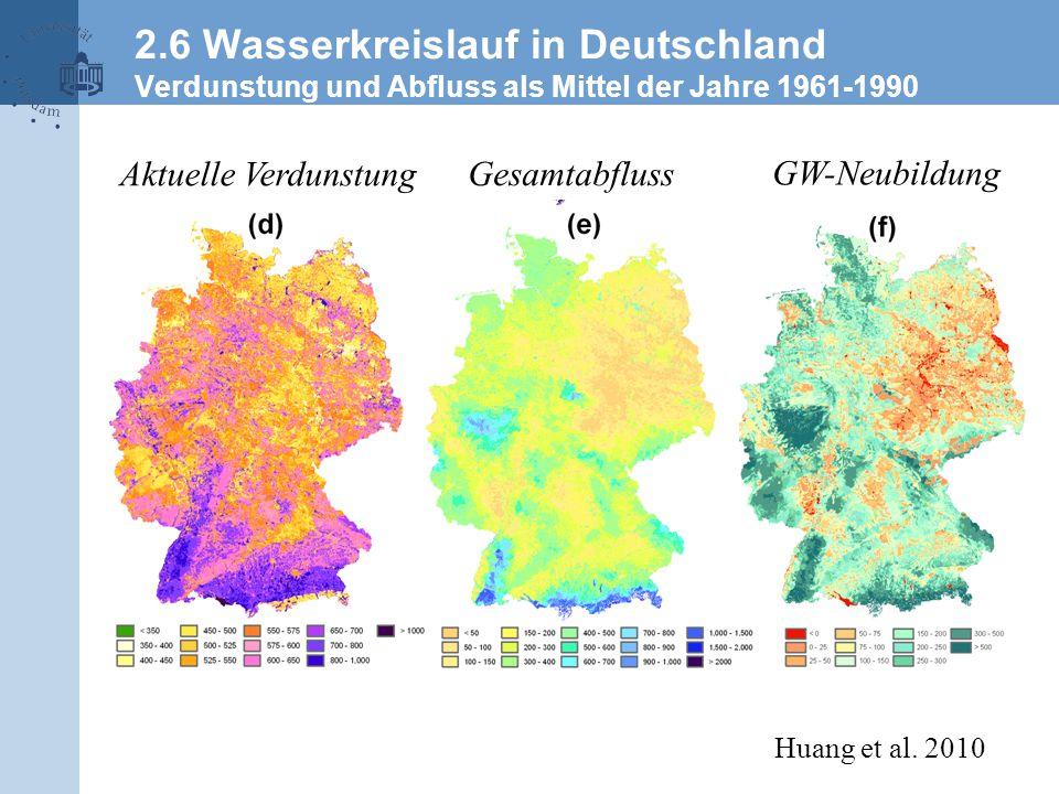 Aktuelle Verdunstung Gesamtabfluss GW-Neubildung Huang et al. 2010 2.6 Wasserkreislauf in Deutschland Verdunstung und Abfluss als Mittel der Jahre 196