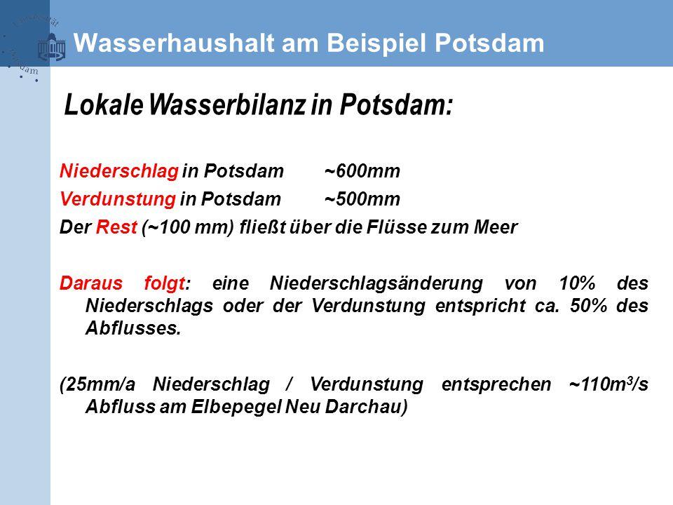 Lokale Wasserbilanz in Potsdam: Niederschlag in Potsdam~600mm Verdunstung in Potsdam~500mm Der Rest (~100 mm) fließt über die Flüsse zum Meer Daraus folgt: eine Niederschlagsänderung von 10% des Niederschlags oder der Verdunstung entspricht ca.
