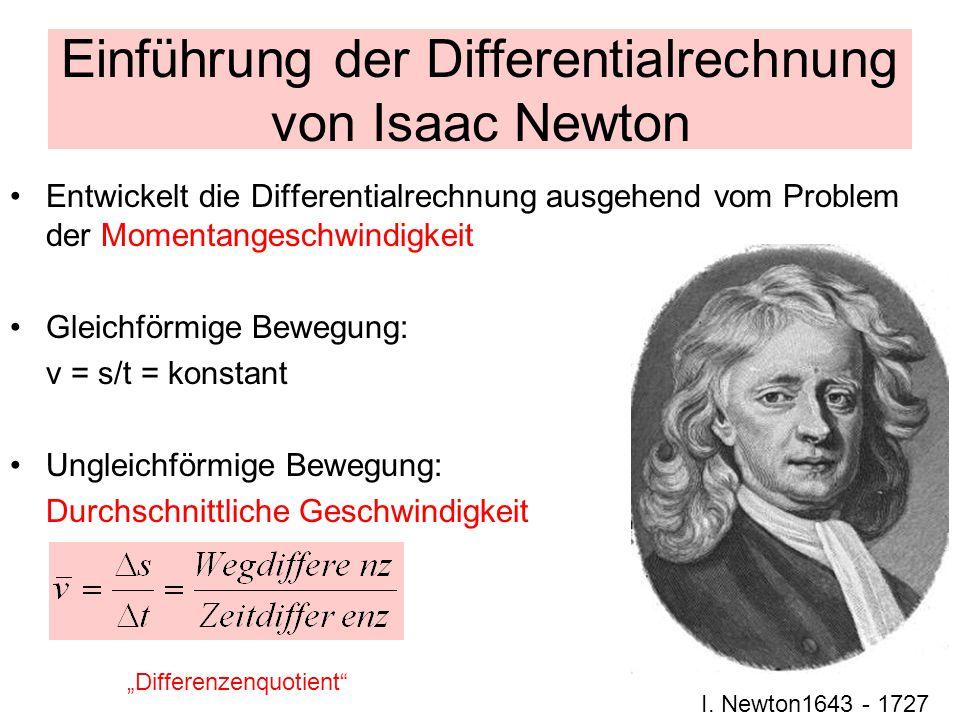 Einführung der Differentialrechnung von Isaac Newton Entwickelt die Differentialrechnung ausgehend vom Problem der Momentangeschwindigkeit Gleichförmige Bewegung: v = s/t = konstant Ungleichförmige Bewegung: Durchschnittliche Geschwindigkeit I.