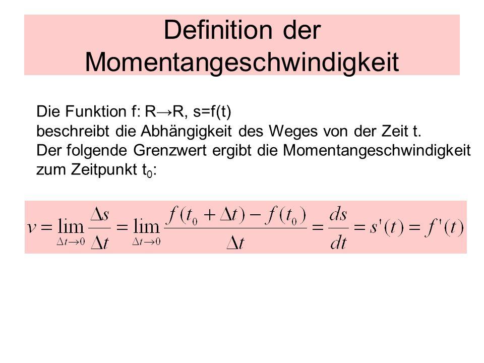 Definition der Momentangeschwindigkeit Die Funktion f: R→R, s=f(t) beschreibt die Abhängigkeit des Weges von der Zeit t. Der folgende Grenzwert ergibt