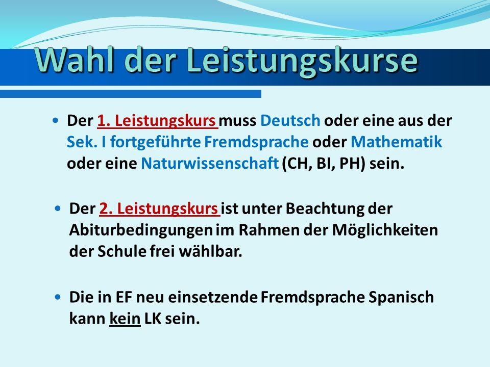 Unter den vier Abiturfächern müssen zwei der Fächer Deutsch, Mathematik oder eine Fremdsprache sein. Das Aufgabenfeld I wird nur durch Deutsch oder ei
