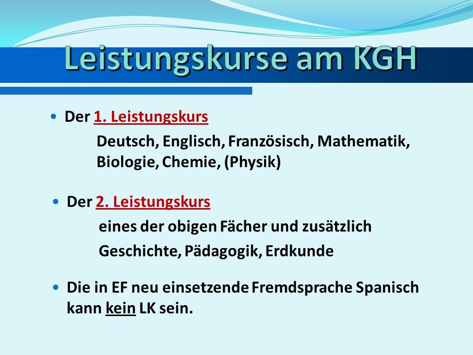 Der 1. Leistungskurs muss Deutsch oder eine aus der Sek. I fortgeführte Fremdsprache oder Mathematik oder eine Naturwissenschaft (CH, BI, PH) sein. De