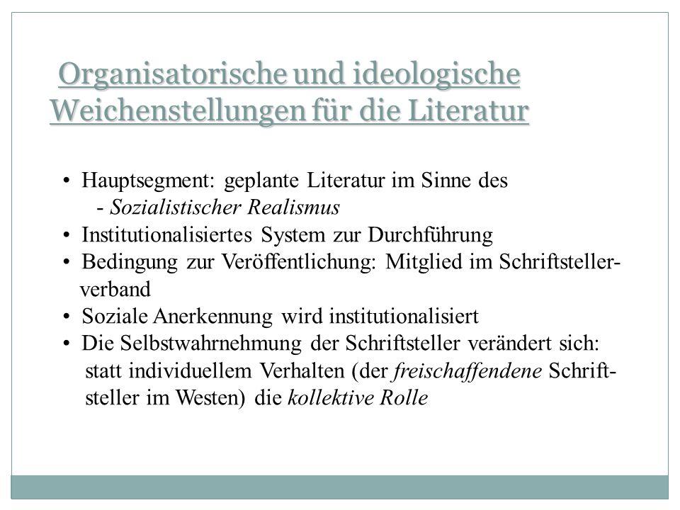 Kulturelle Institutionen 1951 Amt für Literatur und Verlagswesen 1954Ministerium für Kultur 1950 Deutscher Schriftstellerverband ab 1952 eigenständige Organisation: 1.