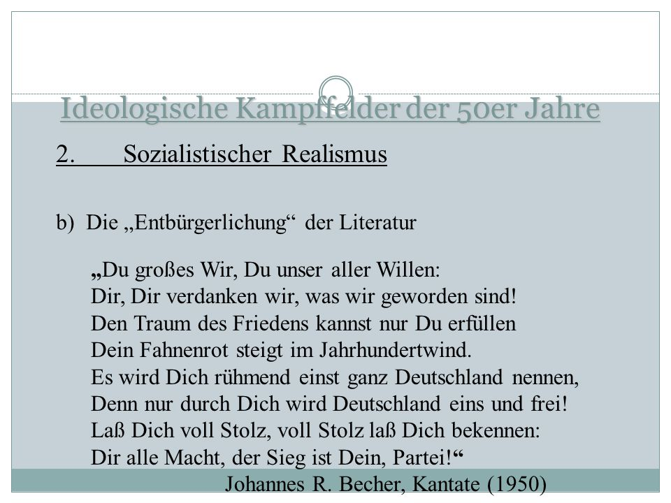 Ideologische Kampffelder der 50er Jahre 2.