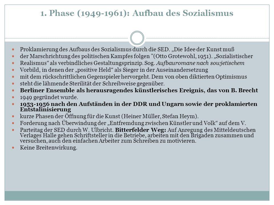 Literatur der DDR Kulturpolitik: Die Literatur der DDR steht im Dienste des Sozialismus, dessen Zielsetzungen sie unterstützen soll.
