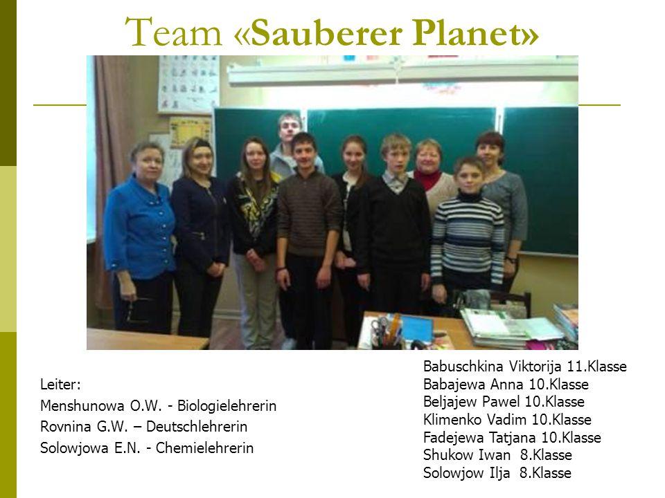 Team « Sauberer Planet» Leiter: Menshunowa O.W. - Biologielehrerin Rovnina G.W.