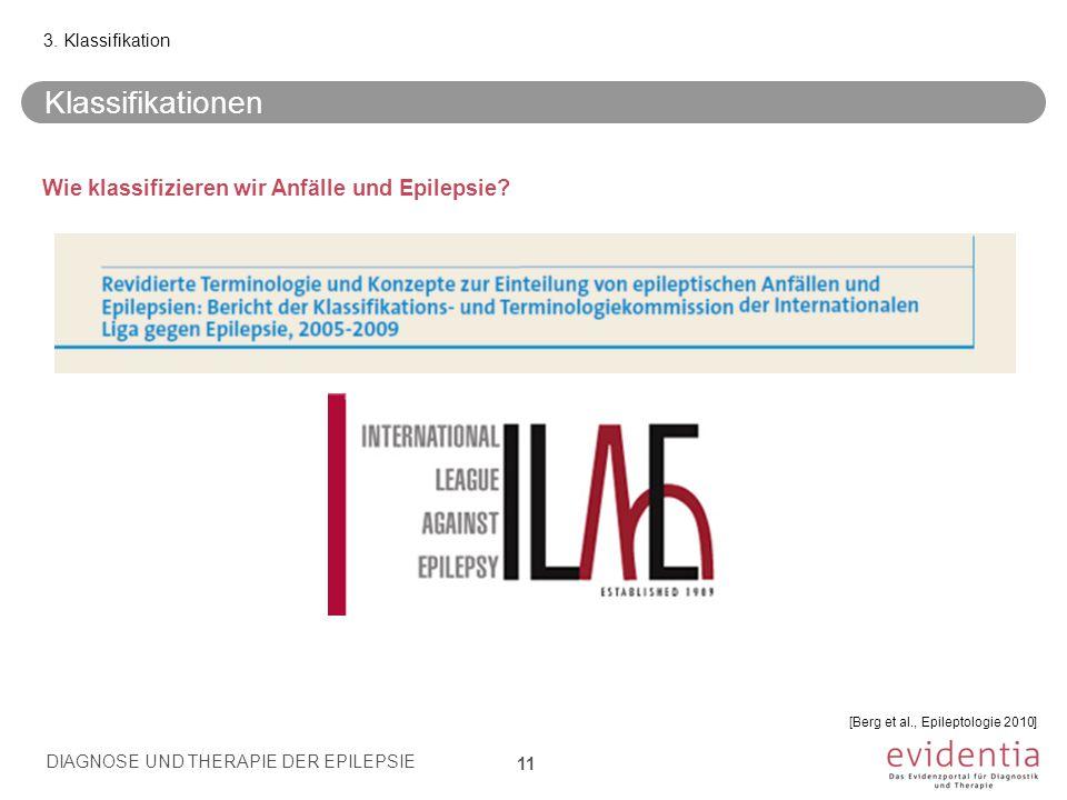 Wie klassifizieren wir Anfälle und Epilepsie? Klassifikationen 3. Klassifikation DIAGNOSE UND THERAPIE DER EPILEPSIE 11 [Berg et al., Epileptologie 20