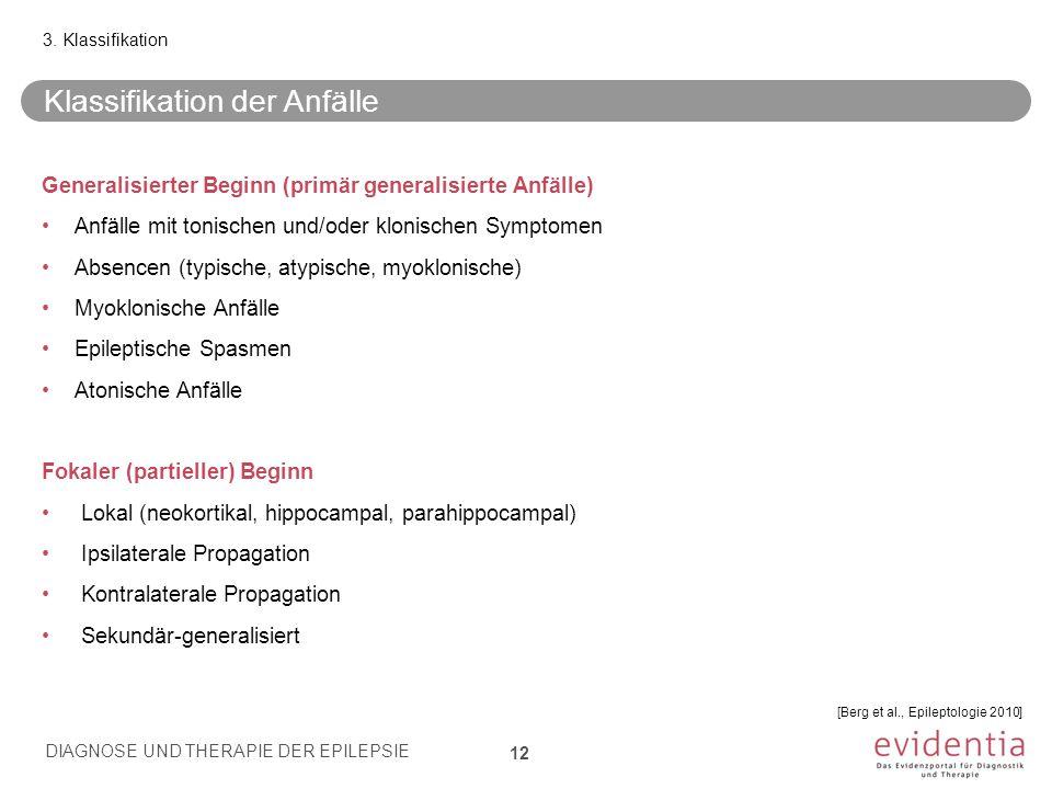 Generalisierter Beginn (primär generalisierte Anfälle) Anfälle mit tonischen und/oder klonischen Symptomen Absencen (typische, atypische, myoklonische