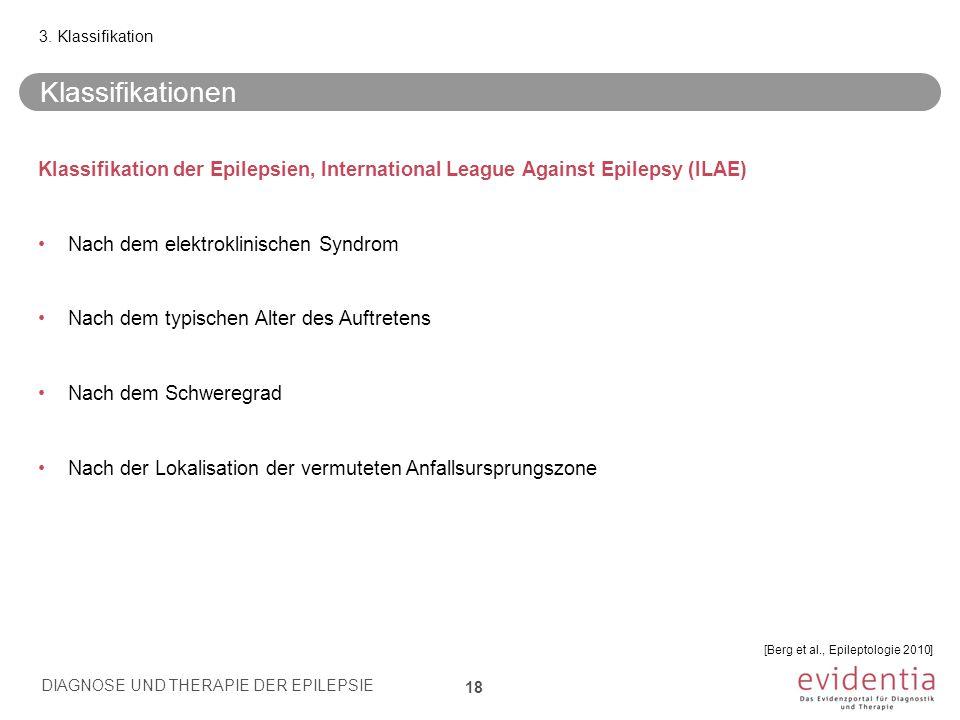 Klassifikation der Epilepsien, International League Against Epilepsy (ILAE) Nach dem elektroklinischen Syndrom Nach dem typischen Alter des Auftretens