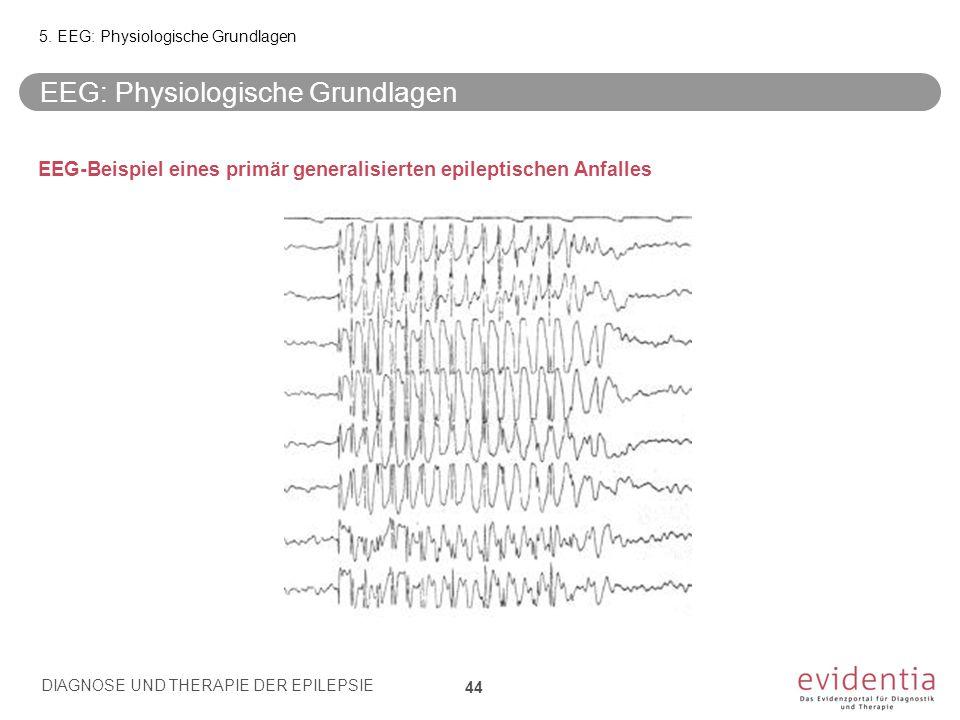 EEG-Beispiel eines primär generalisierten epileptischen Anfalles EEG: Physiologische Grundlagen 5. EEG: Physiologische Grundlagen DIAGNOSE UND THERAPI