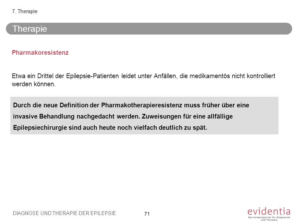 Pharmakoresistenz Etwa ein Drittel der Epilepsie-Patienten leidet unter Anfällen, die medikamentös nicht kontrolliert werden können. Therapie 7. Thera