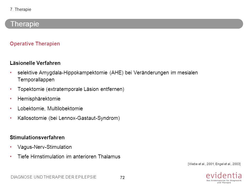 Operative Therapien Läsionelle Verfahren selektive Amygdala-Hippokampektomie (AHE) bei Veränderungen im mesialen Temporallappen Topektomie (extratempo
