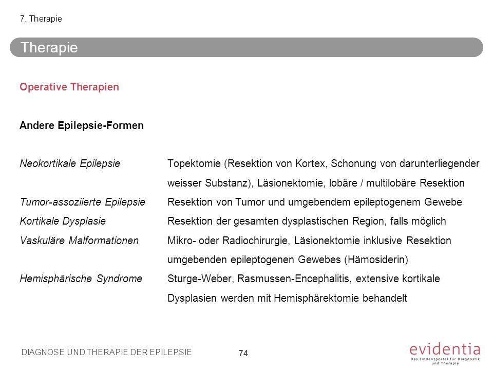 Operative Therapien Andere Epilepsie-Formen Neokortikale EpilepsieTopektomie (Resektion von Kortex, Schonung von darunterliegender weisser Substanz),