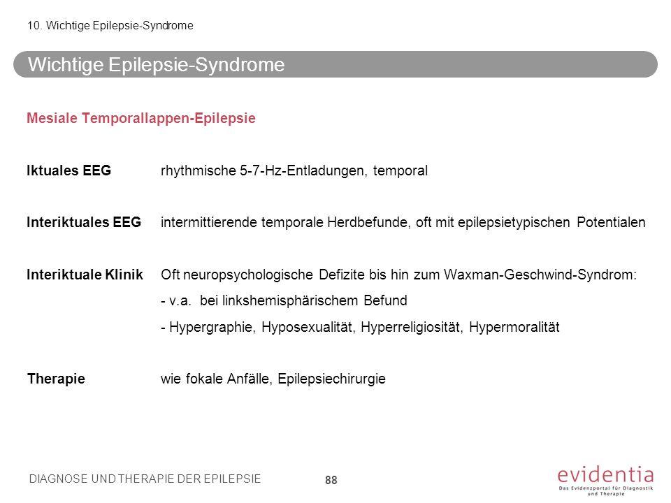 Mesiale Temporallappen-Epilepsie Iktuales EEGrhythmische 5-7-Hz-Entladungen, temporal Interiktuales EEGintermittierende temporale Herdbefunde, oft mit