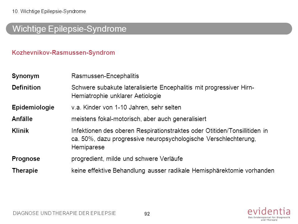 Kozhevnikov-Rasmussen-Syndrom SynonymRasmussen-Encephalitis DefinitionSchwere subakute lateralisierte Encephalitis mit progressiver Hirn- Hemiatrophie