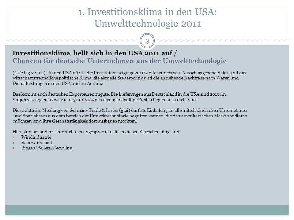 1. Investitionsklima in den USA: Umwelttechnologie 2011 3 Investitionsklima hellt sich in den USA 2011 auf / Chancen für deutsche Unternehmen aus der
