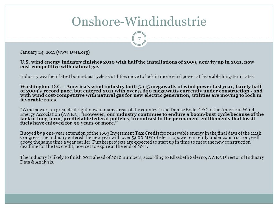 Onshore-Windindustrie 8 Total U.S.