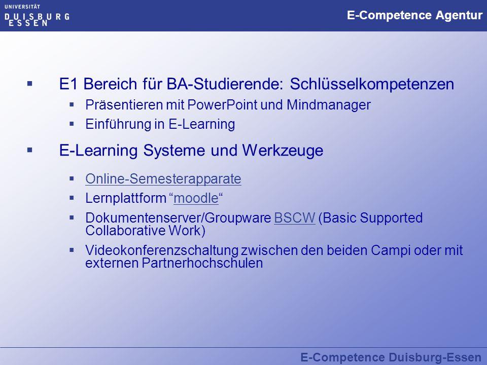 E-Competence Duisburg-Essen E-Competence Agentur  E1 Bereich für BA-Studierende: Schlüsselkompetenzen  Präsentieren mit PowerPoint und Mindmanager 