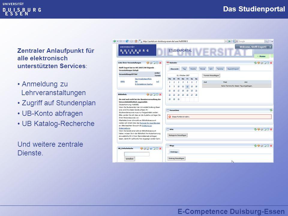 Zentraler Anlaufpunkt für alle elektronisch unterstützten Services : Anmeldung zu Lehrveranstaltungen Zugriff auf Stundenplan UB-Konto abfragen UB Kat