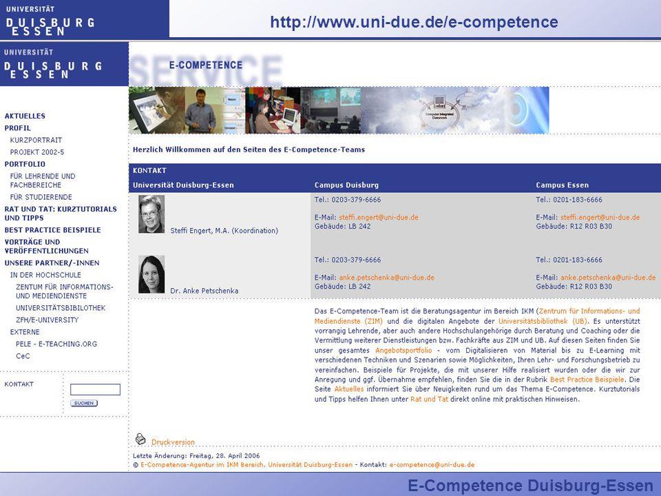 E-Competence Duisburg-Essen http://www.uni-due.de/e-competence