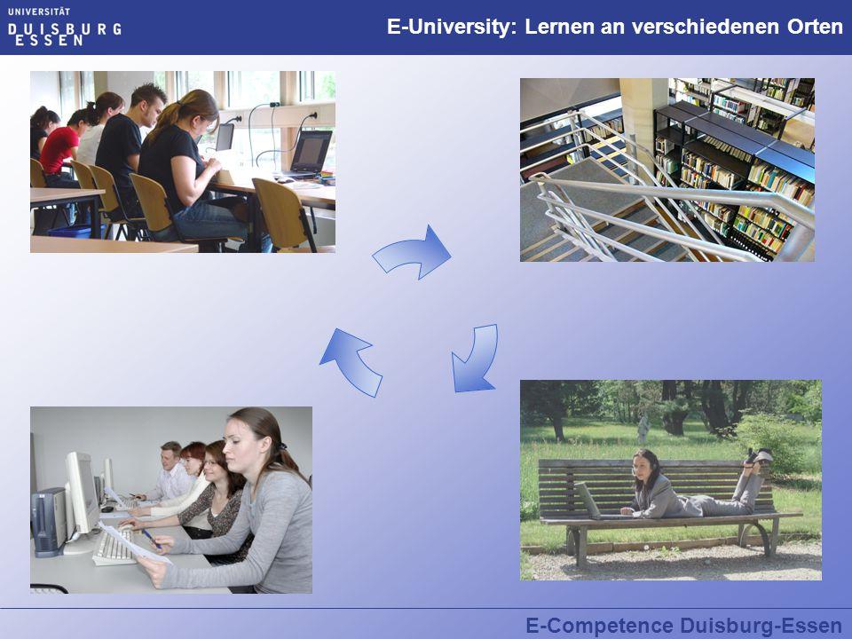 E-Competence Duisburg-Essen E-Tools und E-Kompetenzen  Sehr gute Kenntnisse im Umgang mit digitalen Medien können:  den Einstieg in das Studium erleichtern  den Studiumsalltag effektivieren  den Studiumsverlauf beschleunigen  die Prüfungsvorbereitungen verbessern  den Austausch in der Arbeitsgruppe fördern.