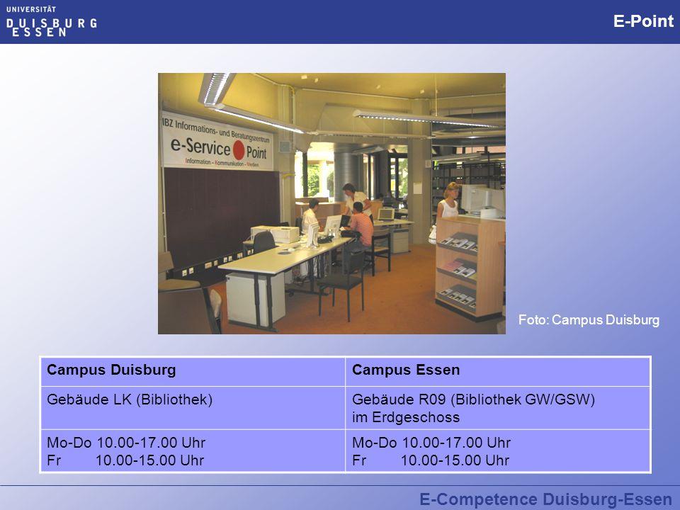 E-Competence Duisburg-Essen E-Point  Infotheke rund um den Computer und das Internet Infotheke  Studierende fragen Studierende  Kostenloses Angebot  Was kann ich fragen.