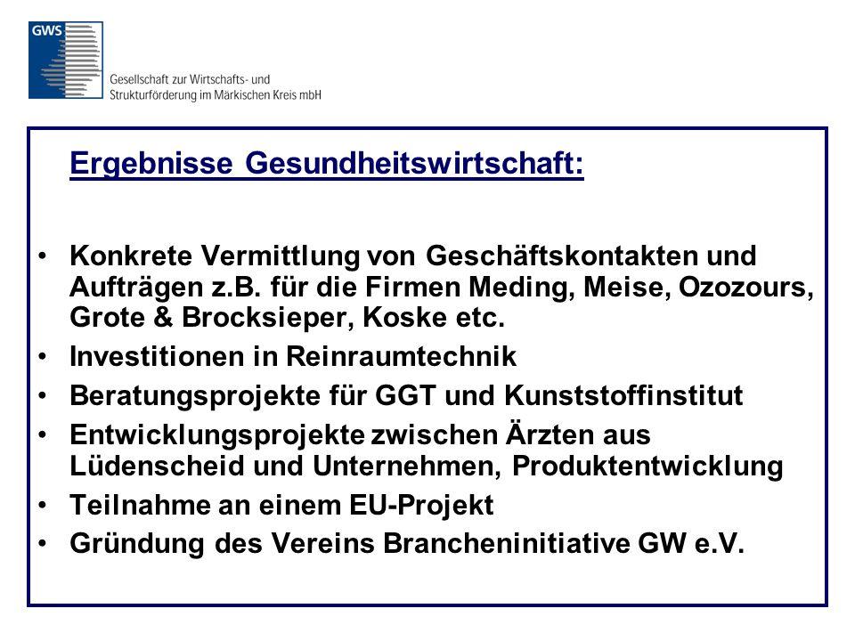 Ergebnisse Gesundheitswirtschaft: Konkrete Vermittlung von Geschäftskontakten und Aufträgen z.B.