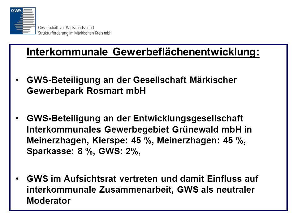 Interkommunale Gewerbeflächenentwicklung: GWS-Beteiligung an der Gesellschaft Märkischer Gewerbepark Rosmart mbH GWS-Beteiligung an der Entwicklungsgesellschaft Interkommunales Gewerbegebiet Grünewald mbH in Meinerzhagen, Kierspe: 45 %, Meinerzhagen: 45 %, Sparkasse: 8 %, GWS: 2%, GWS im Aufsichtsrat vertreten und damit Einfluss auf interkommunale Zusammenarbeit, GWS als neutraler Moderator
