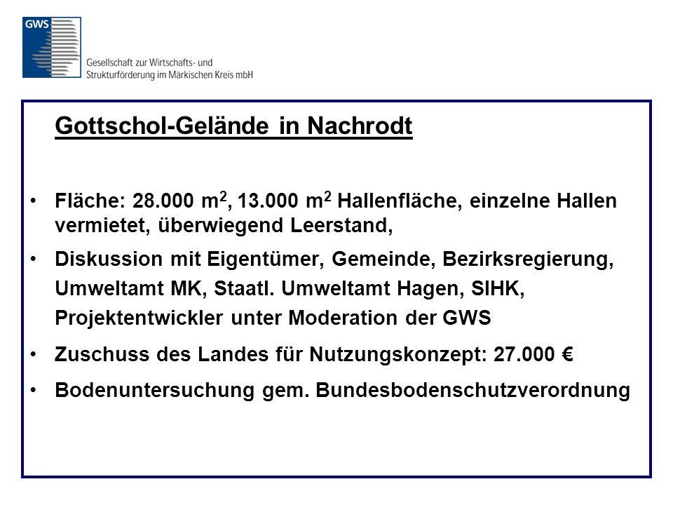 Gottschol-Gelände in Nachrodt Fläche: 28.000 m 2, 13.000 m 2 Hallenfläche, einzelne Hallen vermietet, überwiegend Leerstand, Diskussion mit Eigentümer, Gemeinde, Bezirksregierung, Umweltamt MK, Staatl.