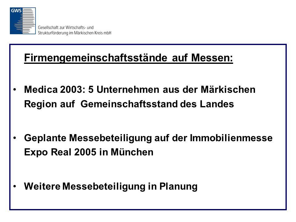 Firmengemeinschaftsstände auf Messen: Medica 2003: 5 Unternehmen aus der Märkischen Region auf Gemeinschaftsstand des Landes Geplante Messebeteiligung auf der Immobilienmesse Expo Real 2005 in München Weitere Messebeteiligung in Planung