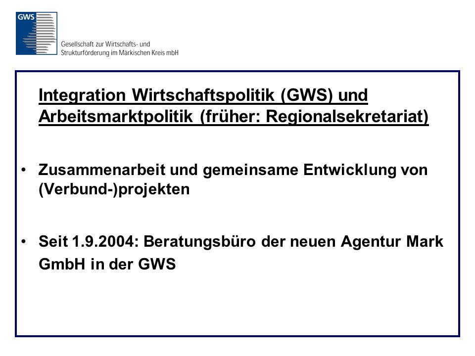 Integration Wirtschaftspolitik (GWS) und Arbeitsmarktpolitik (früher: Regionalsekretariat) Zusammenarbeit und gemeinsame Entwicklung von (Verbund-)projekten Seit 1.9.2004: Beratungsbüro der neuen Agentur Mark GmbH in der GWS