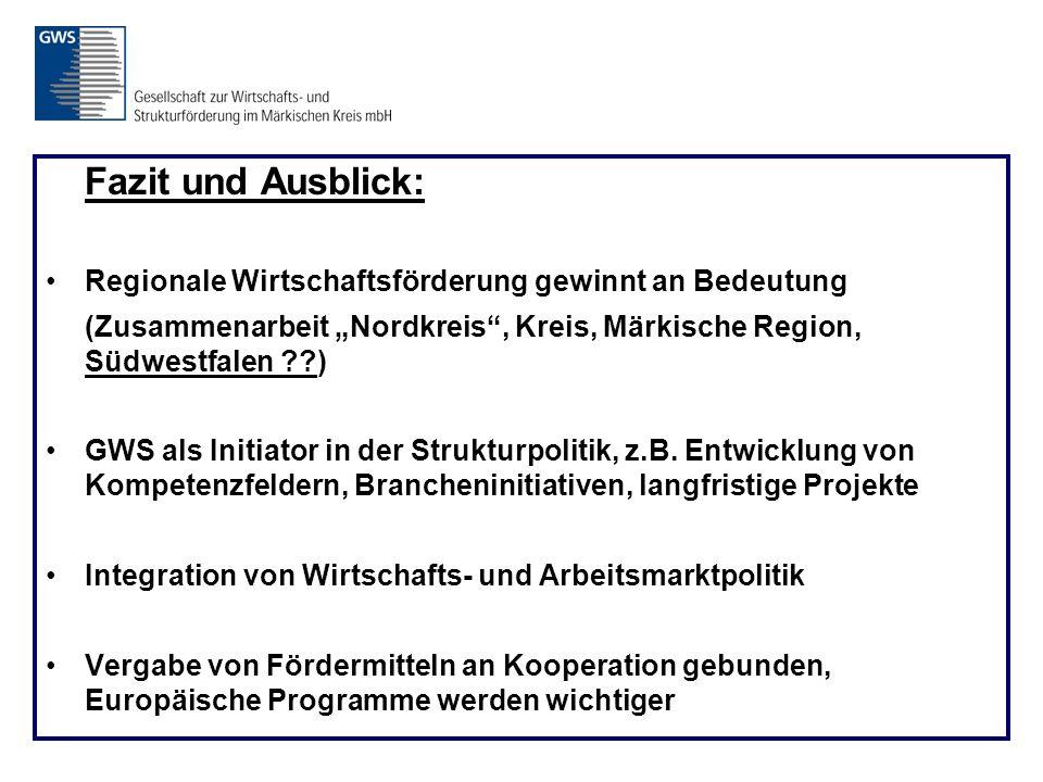 """Fazit und Ausblick: Regionale Wirtschaftsförderung gewinnt an Bedeutung (Zusammenarbeit """"Nordkreis , Kreis, Märkische Region, Südwestfalen ??) GWS als Initiator in der Strukturpolitik, z.B."""