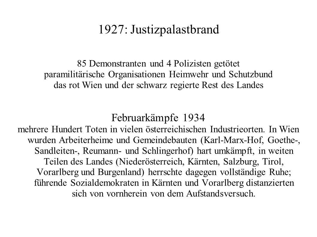 1927: Justizpalastbrand 85 Demonstranten und 4 Polizisten getötet paramilitärische Organisationen Heimwehr und Schutzbund das rot Wien und der schwarz regierte Rest des Landes Februarkämpfe 1934 mehrere Hundert Toten in vielen österreichischen Industrieorten.