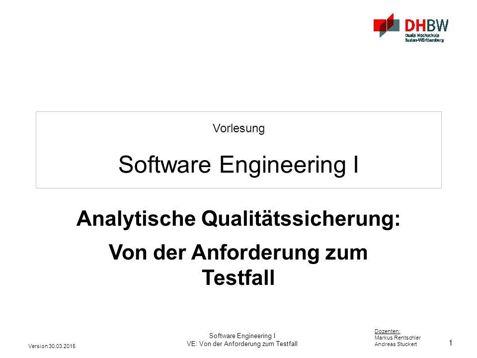 2 Dozenten: Markus Rentschler Andreas Stuckert Version 30.03.2015 Software Engineering I VE: Qualitätssicherung analytisch Software-Qualitätssicherung (SW-QS) Qualitätssicherung Analytische QSKonstruktive QS ErgebnisseProzesse Dokumente Software Reviews,...