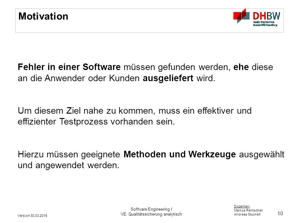 10 Dozenten: Markus Rentschler Andreas Stuckert Motivation Fehler in einer Software müssen gefunden werden, ehe diese an die Anwender oder Kunden ausg