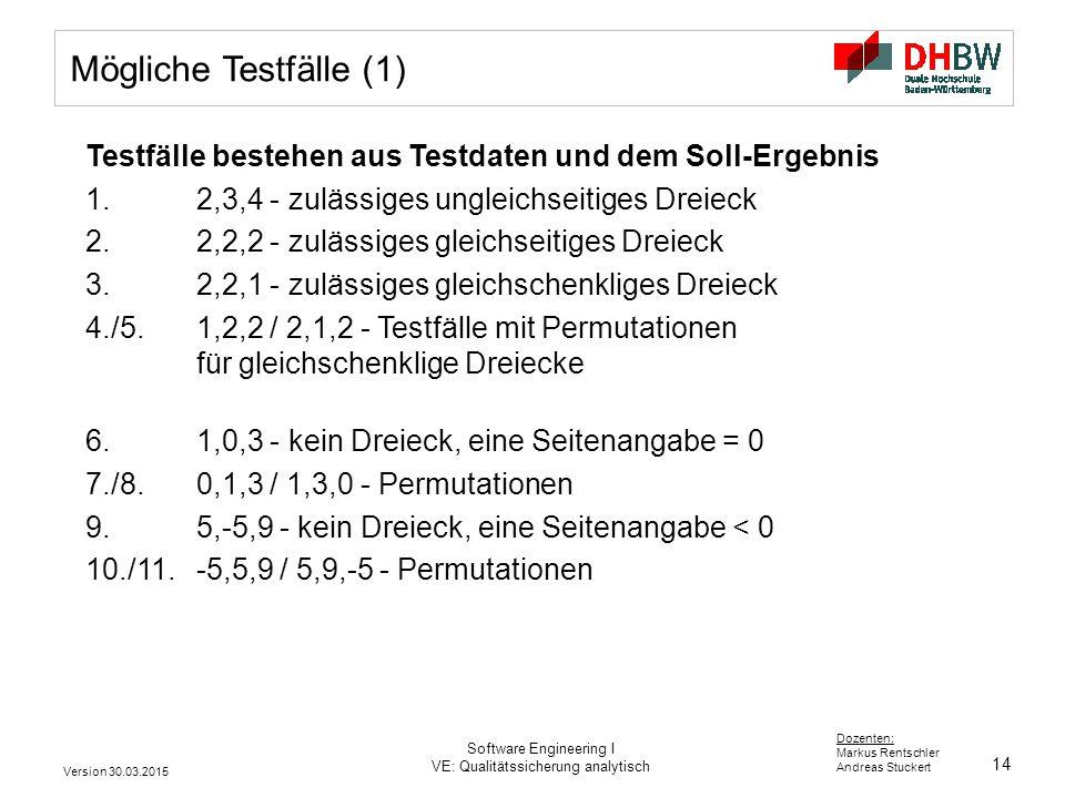 14 Dozenten: Markus Rentschler Andreas Stuckert Version 30.03.2015 Software Engineering I VE: Qualitätssicherung analytisch Mögliche Testfälle (1) Tes