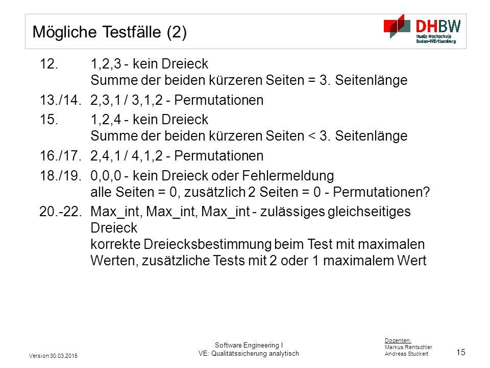 15 Dozenten: Markus Rentschler Andreas Stuckert Version 30.03.2015 Software Engineering I VE: Qualitätssicherung analytisch Mögliche Testfälle (2) 12.