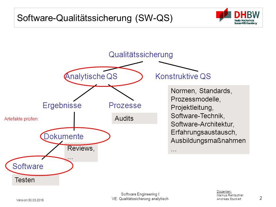 2 Dozenten: Markus Rentschler Andreas Stuckert Version 30.03.2015 Software Engineering I VE: Qualitätssicherung analytisch Software-Qualitätssicherung