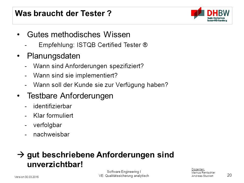 20 Dozenten: Markus Rentschler Andreas Stuckert Was braucht der Tester ? Gutes methodisches Wissen - Empfehlung: ISTQB Certified Tester ® Planungsdate