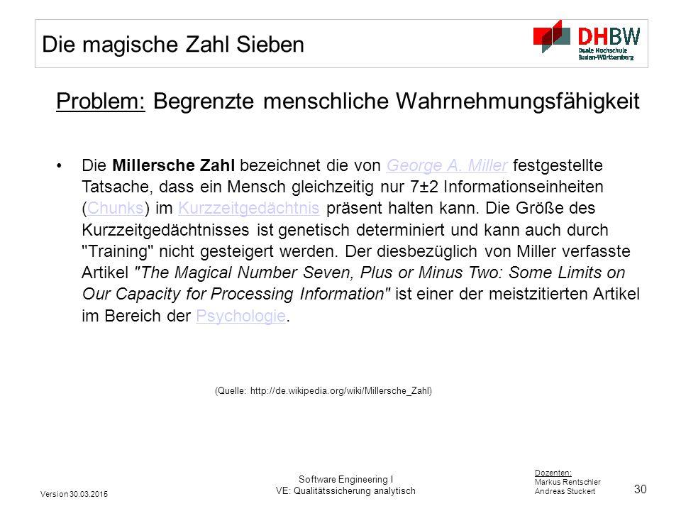 30 Dozenten: Markus Rentschler Andreas Stuckert Version 30.03.2015 Software Engineering I VE: Qualitätssicherung analytisch Die magische Zahl Sieben P