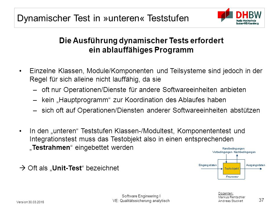 37 Dozenten: Markus Rentschler Andreas Stuckert Version 30.03.2015 Software Engineering I VE: Qualitätssicherung analytisch Dynamischer Test in »unter