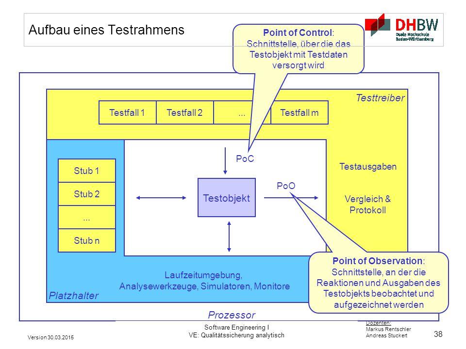 38 Dozenten: Markus Rentschler Andreas Stuckert Testtreiber Aufbau eines Testrahmens Platzhalter Testobjekt PoC PoO Testausgaben Vergleich & Protokoll